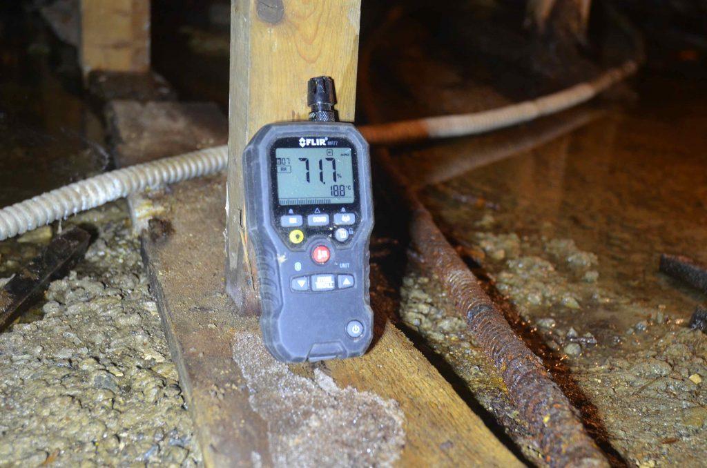 Infiltration dans le sous-sol, humidité relevé aux instruments BEBEXPERTS
